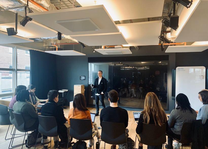 Nicholas Heller speaks at City University event at Deloitte Showcase Room